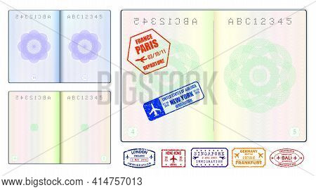 Set Of Realistic Blank Passport Pages Or Empty Passport With Watermark And Stamps Or Open Foreign Pa