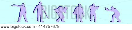 Set Of Robber Cartoon Icon Design Template With Various Models. Modern Vector Illustration Isolated