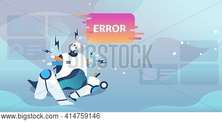 Broken Robot Showing Error Artificial Intelligence Failures Overloaded Concept Full Length Horizonta