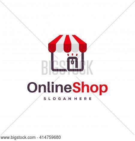 Online Shop Logo Designs Concept Vector, Online Store Logo Designs