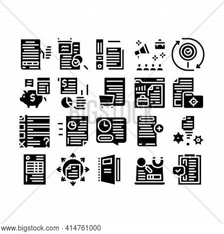 Audit Finance Report Glyph Set Vector. Researching Company Financial Audit And Documentation, Calcul