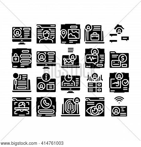 Digital Identity User Glyph Set Vector. Electronic Signature And Face Scanning, Eye And Finger Print