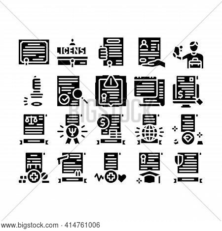 License Certificate Glyph Set Vector. Pharmaceutical And Medical License, International Legal Activi