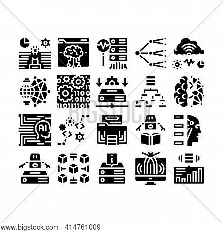 Machine Learning Ai Glyph Set Vector. Artificial Intelligence And Algorithm Of Machine Learning, Rob