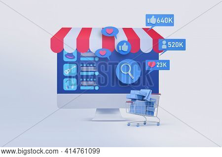 Computer Monitor With Shopping Application And Social Media Icon  3d Illustration , Concept Of Marke