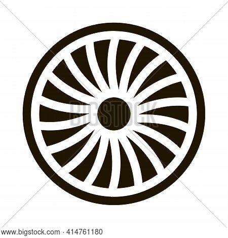 Turbine Engine Glyph Icon Vector. Turbine Engine Sign. Isolated Symbol Illustration