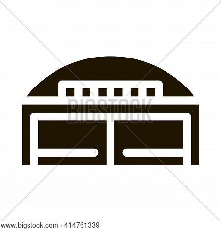 Hangar Building Glyph Icon Vector. Hangar Building Sign. Isolated Symbol Illustration