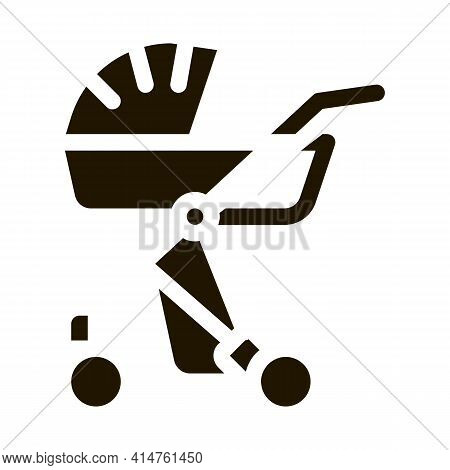 Baby Carriage Glyph Icon Vector. Baby Carriage Sign. Isolated Symbol Illustration