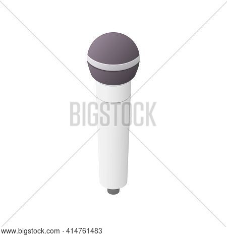 Vocal Microphone Concept. Isometric Colored Vector Illustration. Isolated On White Background.