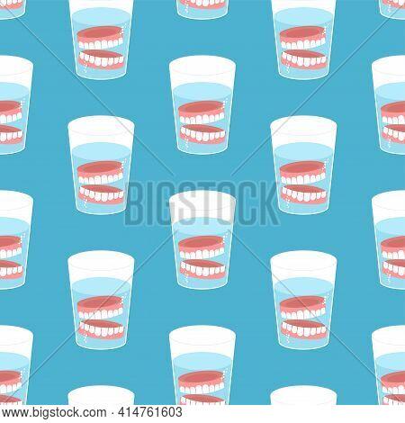 False Teeth In Glass Pattern Seamless. False Jaw In Glass Beaker Texture. False Teeth Background