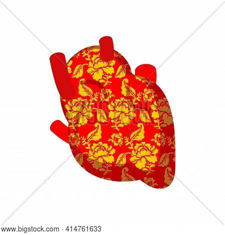 Heart Of Patriot Of Russia. Traditional Russian Pattern. Anatomical Heart Of Russia