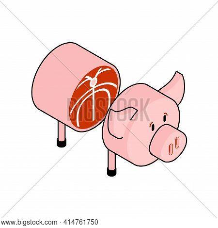 Cut Pig. Pig Entrails. Vector Illustration. Bacon