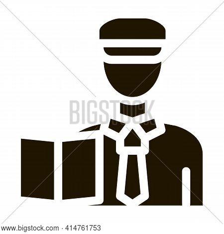Custom Policeman Glyph Icon Vector. Custom Policeman Sign. Isolated Symbol Illustration