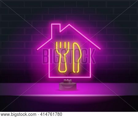Restaurant Logo, Sign, Emblem In Neon Style. A Glowing House, Fork And Spoon. Glowing Neon Night Adv