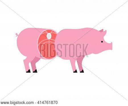 Cut Pig. Pig Entrails. Vector Illustration. Animal