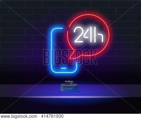 24 Hours Neon Sign Vector Design Template. Glowing Neon Telephone 24 Hours Support Icon, Design Elem
