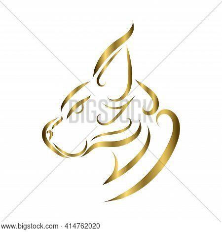 Gold Line Art Of Wildcat Head. Good Use For Symbol, Mascot, Icon, Avatar, Tattoo, T Shirt Design, Lo