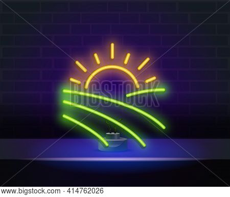 Neon Field Under Sun Outline Icon.neon Landscapes Fields Forests. Elements Of Ecology In Neon Style