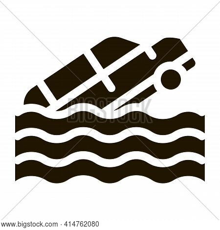 Sinking Car Glyph Icon Vector. Sinking Car Sign. Isolated Symbol Illustration