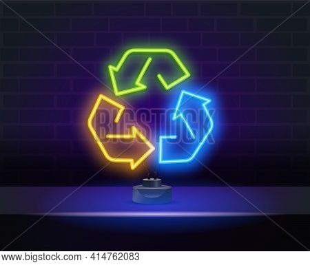Multicolored Neon Light Recycle Symbol Sign. Recycle Neon Light Icon. Environment Protection. Recycl