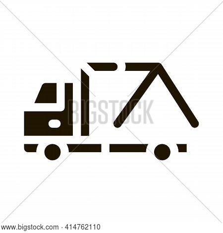 Evacuator Crane Glyph Icon Vector. Evacuator Crane Sign. Isolated Symbol Illustration