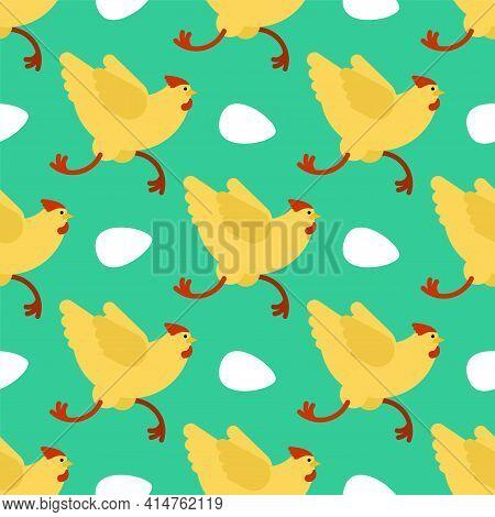 Chicken Running Pattern Seamless. Chicken Run Background. Vector Texture