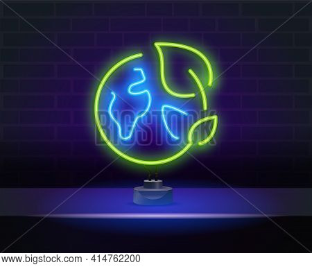 Glowing Neon Sign Of Green, Eco Energy. Glowing Neon Line Electric Saving Plug In Leaf Icon Isolated