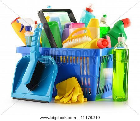 Shopping Basket With Detergent Bottles Isolated On White