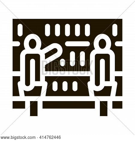 Customers Counter Glyph Icon Vector. Customers Counter Sign. Isolated Symbol Illustration
