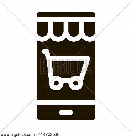 Shop Application Glyph Icon Vector. Shop Application Sign. Isolated Symbol Illustration