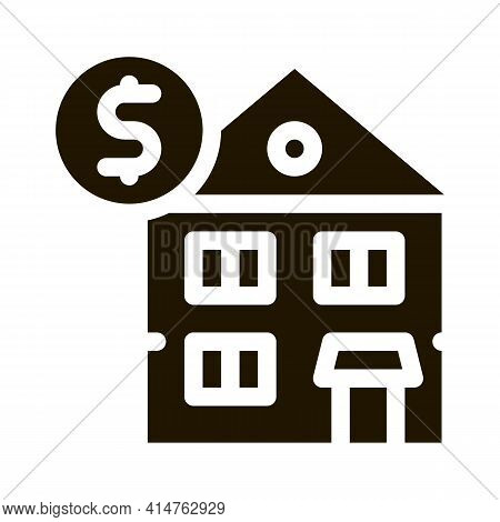 House Mortgage Glyph Icon Vector. House Mortgage Sign. Isolated Symbol Illustration