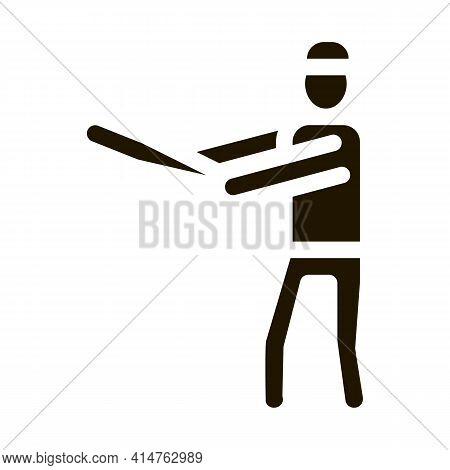 Baseball Gamer Glyph Icon Vector. Baseball Gamer Sign. Isolated Symbol Illustration