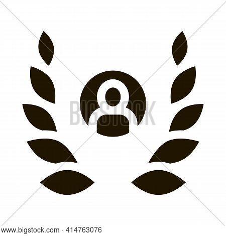 Human Laurel Glyph Icon Vector. Human Laurel Sign. Isolated Symbol Illustration