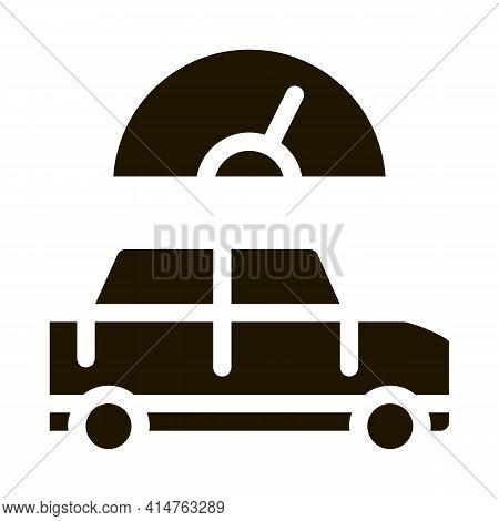 Car Speedometer Glyph Icon Vector. Car Speedometer Sign. Isolated Symbol Illustration