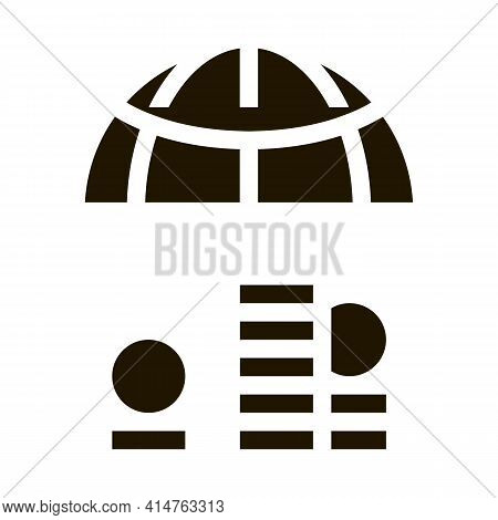 Worldwide Money Glyph Icon Vector. Worldwide Money Sign. Isolated Symbol Illustration