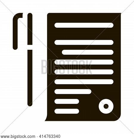 Agreement Pen Glyph Icon Vector. Agreement Pen Sign. Isolated Symbol Illustration