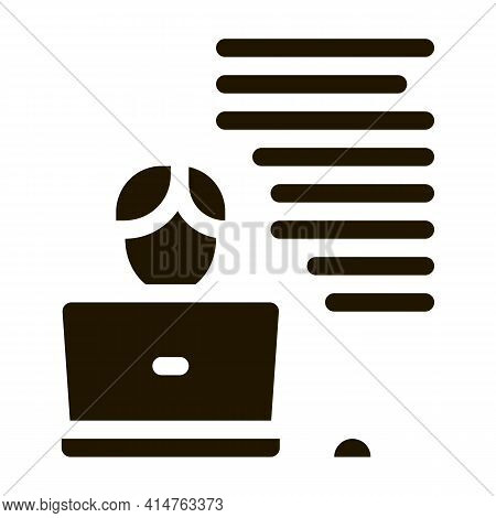 Writer Laptop Glyph Icon Vector. Writer Laptop Sign. Isolated Symbol Illustration
