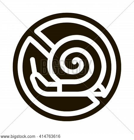 Crossed Snail Glyph Icon Vector. Crossed Snail Sign. Isolated Symbol Illustration