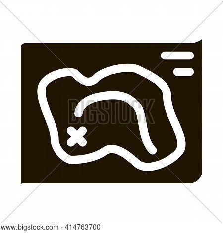 Map Treasure Glyph Icon Vector. Map Treasure Sign. Isolated Symbol Illustration