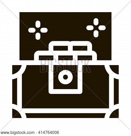 Treasure Chest Glyph Icon Vector. Treasure Chest Sign. Isolated Symbol Illustration