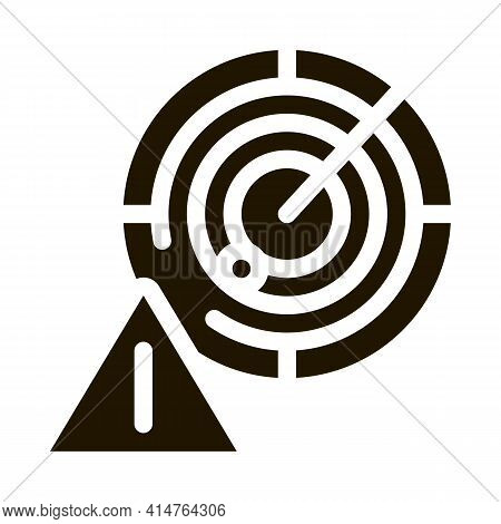 Caution Radar Glyph Icon Vector. Caution Radar Sign. Isolated Symbol Illustration