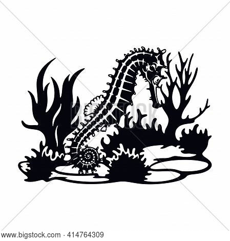 Seahorse, Wildlife Stencils - Silhouettes, Wildlife Clipart, Iron On, Vector, Vinyl Design.