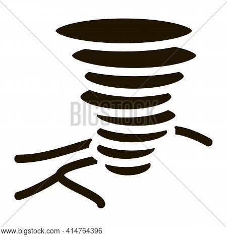 Tornado Field Glyph Icon Vector. Tornado Field Sign. Isolated Symbol Illustration