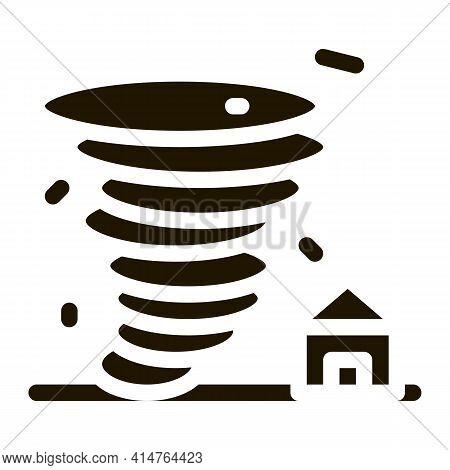 Tornado House Glyph Icon Vector. Tornado House Sign. Isolated Symbol Illustration