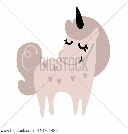 Cute Pink Unicorn. Standing Magic Pony From A Fairy Tale. Animal For Design Of A Nursery For A Girl,