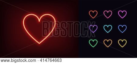 Neon Heart Suit Icon. Glowing Neon Hearts Sign, Outline Card Suit Symbol And Silhouette In Vivid Col