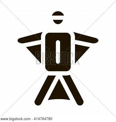 Skier Glyph Icon Vector. Skier Sign. Isolated Symbol Illustration