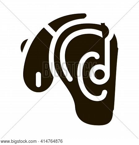 Hearing Aid Glyph Icon Vector. Hearing Aid Sign. Isolated Symbol Illustration