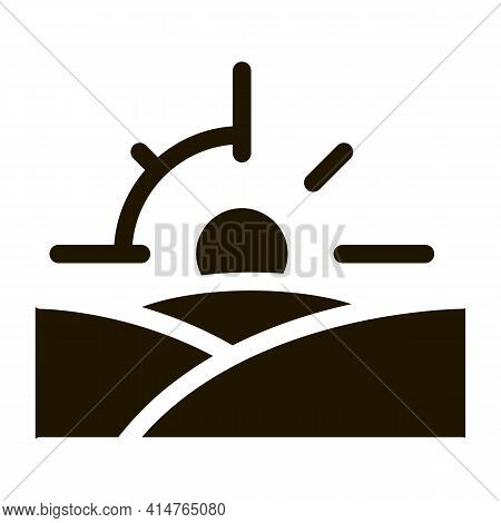 Sunset Glyph Icon Vector. Sunset Sign. Isolated Symbol Illustration