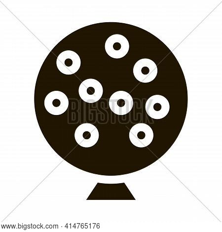 Lottery Drum Glyph Icon Vector. Lottery Drum Sign. Isolated Symbol Illustration